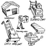 Manufacturing Icon Drawing Set Royalty Free Stock Photos