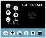 Manufacturing icon set on black and blue background stock illustration