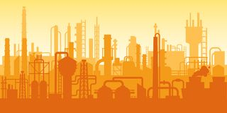 Industrial plant, factory silhouette, exterior of enterprise scene, oil refinery. Manufacturing industrial plant, factory silhouette, building of enterprise royalty free illustration