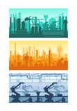Machine-building, oil refining, gas plants, silhouettes of buildings, premises, plants. Manufacturing industrial plant, factory silhouette, manufacture industry vector illustration