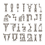 Manufacturing industrial robot, robotic arms vector line icons vector illustration