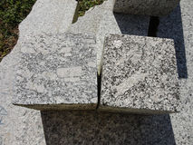 Manufacturing industry, cubes of granite close-up Royalty Free Stock Images