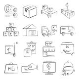 Manufacturing, industry icons Stock Images
