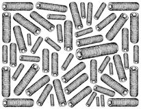 Sketch Hand Drawn Background of Set Screws. Manufacturing and Industry, Illustration Hand Drawn Sketch Wallpaper Background of Set Screws. Used to Secure Gears stock illustration