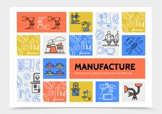 Manufacturing Infographic Concept. With robotic arms engineers factory industrial machineries wrench hammer production line icons vector illustration Royalty Free Stock Image