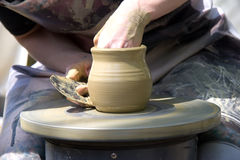 Manufacturing jug clay. Traditional way Stock Photo