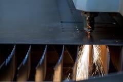 Manufacturing. Laser cutting of sheet metal. Close-up Royalty Free Stock Images
