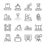 Manufacturing line icon set. Included the icons as process, production, factory, packing and more. Line Design Icon Illustration: Manufacturing line icon set Royalty Free Stock Images