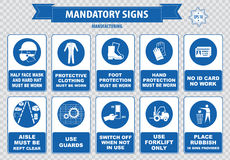 Manufacturing Mandatory Signs. (hairnet must be worn, stack correctly, wheels must be choked, boots, gloves, face mask, dust mask, guards, show you id cards Royalty Free Stock Photo