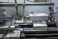 Manufacturing metal processing CNC professional lathe machine spindle royalty free stock photos