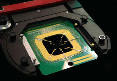 Manufacturing of microchips Stock Photo