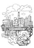Manufacturing and operation system in factory assembly line hand. Writing doodle royalty free illustration