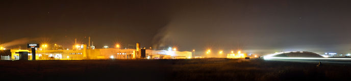 Manufacturing plant by night Stock Photography