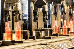 Manufacturing process of the bottles Royalty Free Stock Photos