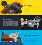 Manufacturing process infographic banner design from raw materia Royalty Free Stock Photo