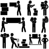 Manufacturing Process. Stick Figure Pictogram Icon. Manufacturing Process with Loaders, Workers, Engineer & Taskmaster. Stick Figure Vector Royalty Free Stock Image