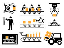 Manufacturing process or production icons set Royalty Free Stock Photos