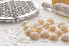 Manufacturing process Russian dumplings Stock Photo