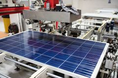 Manufacturing of solar panel system in factory.Industry concept stock images