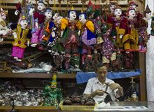 Manufacturing String Puppet Myanmar tradition dolls Stock Photo