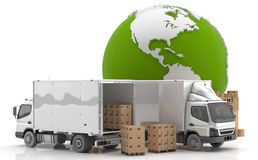 Manufacturing in USA. Made in USA. Transportation from USA. Trucks to transport goods by road Royalty Free Stock Photos