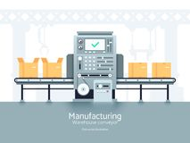 Manufacturing warehouse conveyor. Assembly production line flat vector industrial concept. Conveyor production factory, illustration of manufacturing machine royalty free illustration