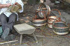 Manufacturing of wicker baskets Royalty Free Stock Image