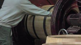 Manufacturing wine barrels stock video