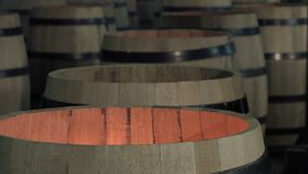 Manufacturing wine barrels stock video footage