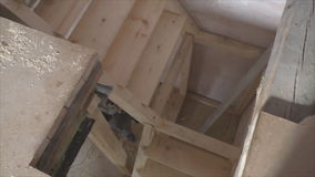 Manufacturing of a wooden stairs stock video footage