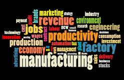 Manufacturing word cloud. Illustration over black background Stock Photo