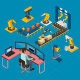 Manufacturing Work Isometric Composition Stock Photography