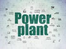 Manufacuring概念:数字资料纸背景的能源厂 图库摄影