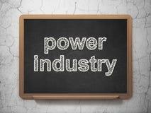 Manufacuring begrepp: Maktbransch på svart tavlabakgrund stock illustrationer