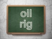 Manufacuring begrepp: Oljeplattform på svart tavlabakgrund royaltyfri illustrationer