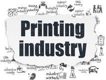 Manufacuring begrepp: Printingbransch på sönderriven pappers- bakgrund Arkivbilder