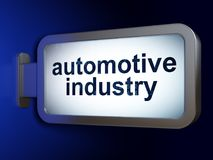 Manufacuring concept: Automotive Industry on billboard background. Manufacuring concept: Automotive Industry on advertising billboard background, 3D rendering vector illustration