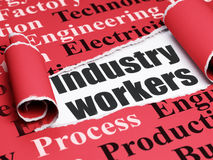 Manufacuring concept: black text Industry Workers under the piece of  torn paper. Manufacuring concept: black text Industry Workers under the curled piece of Red Royalty Free Stock Photography