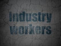 Manufacuring concept: Industry Workers on grunge wall background. Manufacuring concept: Blue Industry Workers on grunge textured concrete wall background royalty free illustration