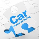 Manufacuring concept: Car Manufacturing on puzzle background. Manufacuring concept: Car Manufacturing on White puzzle pieces background, 3D rendering Royalty Free Stock Image