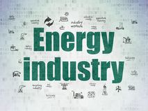 Manufacuring concept: Energy Industry on Digital Data Paper background. Manufacuring concept: Painted green text Energy Industry on Digital Data Paper background royalty free illustration