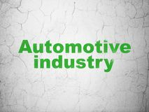 Manufacuring concept: Automotive Industry on wall background. Manufacuring concept: Green Automotive Industry on textured concrete wall background royalty free illustration