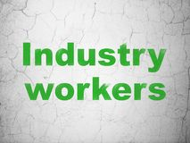 Manufacuring concept: Industry Workers on wall background. Manufacuring concept: Green Industry Workers on textured concrete wall background royalty free illustration