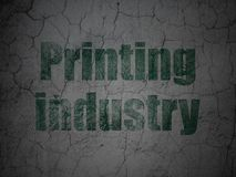 Manufacuring concept: Printing Industry on grunge wall background. Manufacuring concept: Green Printing Industry on grunge textured concrete wall background royalty free illustration