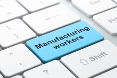 Manufacuring concept: Manufacturing Workers on computer  Royalty Free Stock Image