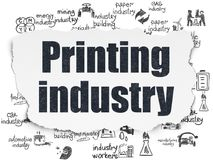 Manufacuring concept: Printing Industry on Torn Paper background Stock Images