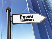 Manufacuring concept: sign Power Industry on Building background. 3D rendering Stock Photos