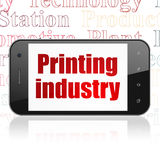 Manufacuring concept: Smartphone with Printing Industry on display Royalty Free Stock Images