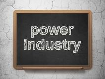Manufacuring concept: Power Industry on chalkboard background. Manufacuring concept: text Power Industry on Black chalkboard on grunge wall background, 3D stock illustration