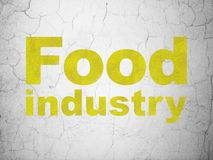 Manufacuring concept: Food Industry on wall background. Manufacuring concept: Yellow Food Industry on textured concrete wall background royalty free illustration